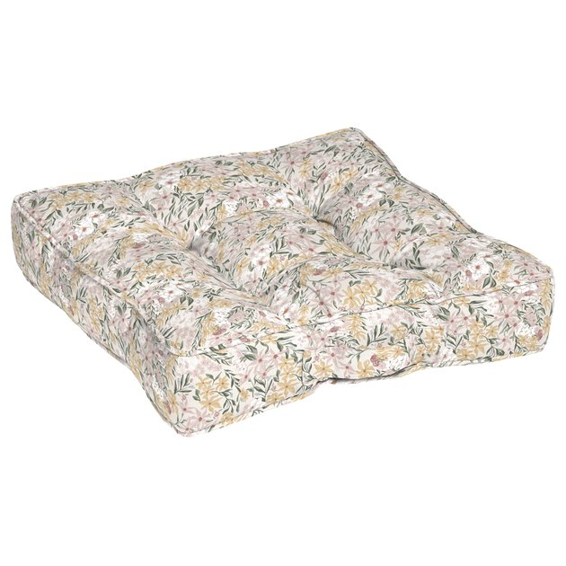 This outdoor square floor pillow has durable, weather-resistant polyester fabric that ensures vibrant colors through the season and offers easy cleaning with just soap and water.