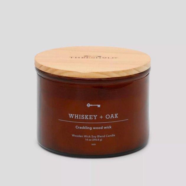 14oz Lidded Glass Jar Crackling Wooden 3-Wick Candle Whiskey & Oak - Threshold™