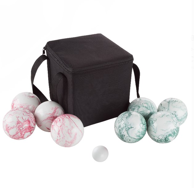 Spend summertime outdoors with an easy sport for kids, teens, and adults with this Bocce Ball Set with Carrying Case by Hey! Play! This lawn game kit features heavy duty resin composite balls and a carrier bag, so you can play in your own yard or take to the beach for some family-friendly fun! Whether mastering this classic game in tournament-style play or enjoying quality time with friends, this set is sure to provide hours of entertainment!
