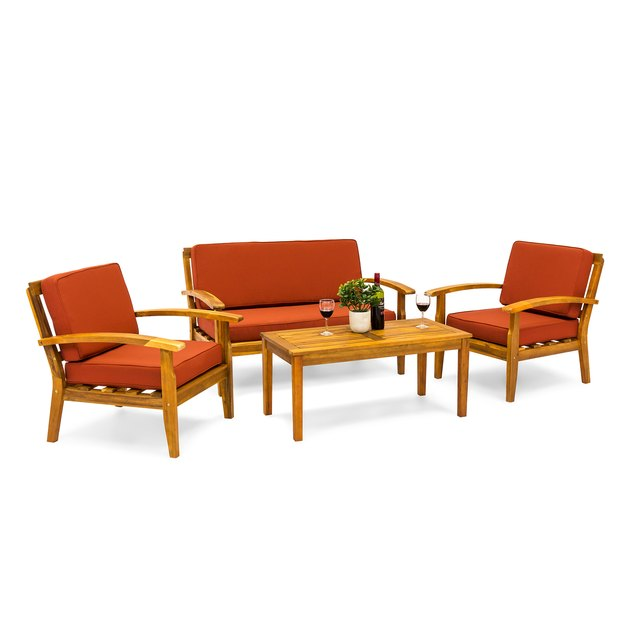 The Amazonia Kingsboro 4-Piece Patio Conversation Set will add a contemporary look to your backyard. Made from 100 percent FSC eucalyptus wood, this set is designed to be durable. Designed to be UV-resistant to prevent fading, it can also be treated with wood preservative to prolong its durability.