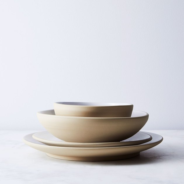 Jono Pandolfi's elegant designs have graced the tables of some of New York's best restaurants (like Eleven Madison Park and Lilia). But now you can bring it home to your table—Food52 has worked with Jono Pandolfi to create lines of dinnerware just for us. The set's glazed white interior and raw, unglazed clay exterior make for a classic, understated backdrop to your dinnertime creations. And if you love this design, you're in luck—there are mugs and serving bowls to match.