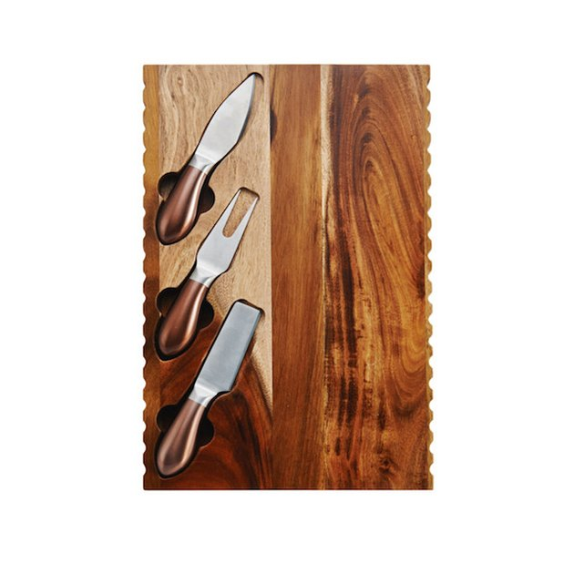 4 Piece Acacia Wood Cheese Board Set with Cheese Knives
