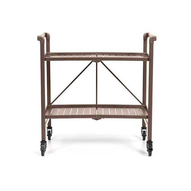 Bring style and functionality to your outdoor experience with this Ruby Red Cosco Metal Slat Folding Serving Cart. It's made of durable metal with an attractive finish. You can use it on your patio, deck, porch or poolside. This ruby red serving cart instantly creates additional storage space for drinks, plates, condiments, plants and more. It has a lightweight design with slatted shelves that give it an upscale appearance. This cart also features attached raised handles and four free rolling wheels for convenient transport from one location to another. When no longer needed, it folds flat for easy storage.