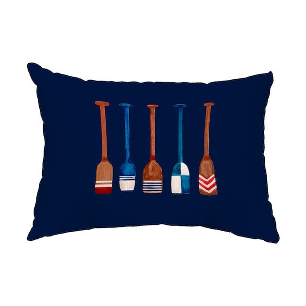 Oar Multi Painted 14x20 inch Navy Nautical Decorative Outdoor Pillow