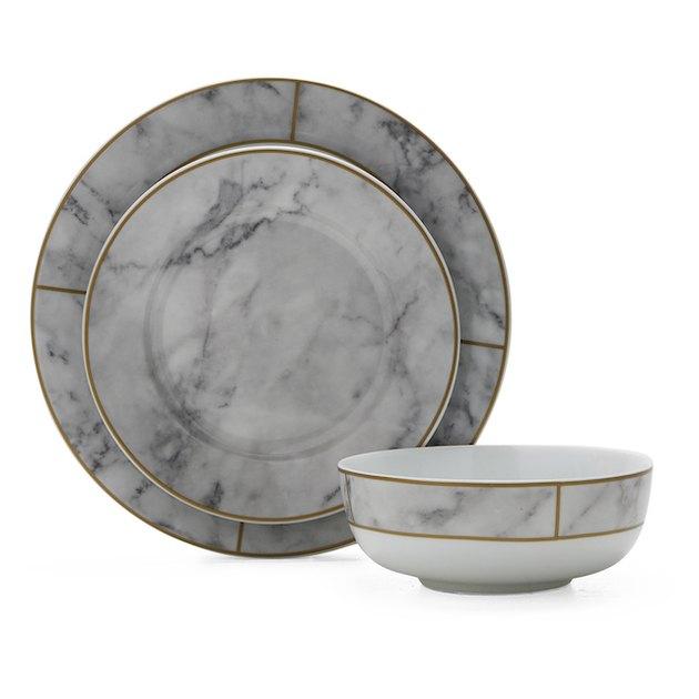MoDRN Glam Mason 12 Piece Dinnerware Set, White