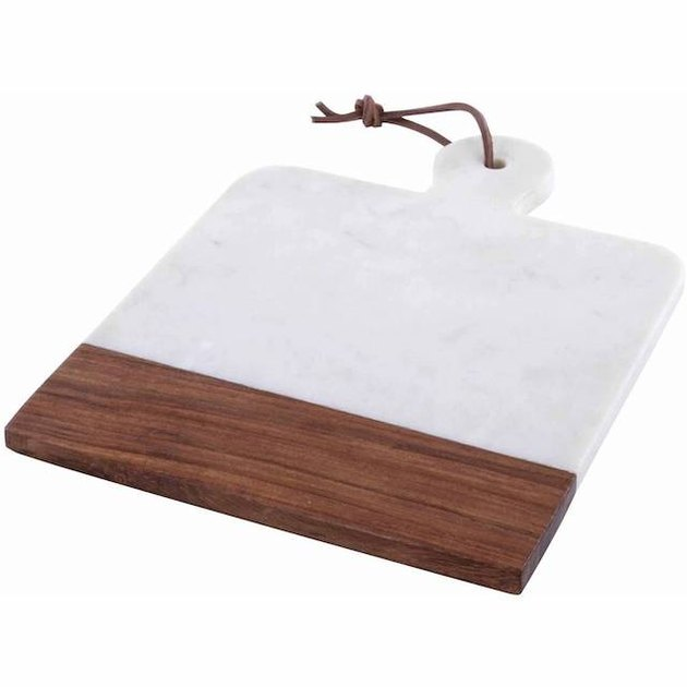 "Thirstystone Square White Marble/Sheesham Paddle Cheese Board, 12"" X 9"""