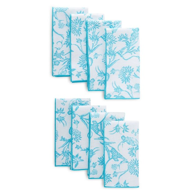 Catch the attention of your family and guests with the Patricia Heaton Home Reversible Napkins gracing your table.  The bold, white floral design on a solid background on one side and a trendy geo check pattern in blue tones on the reverse side gives the option to change the look of your table on a whim.