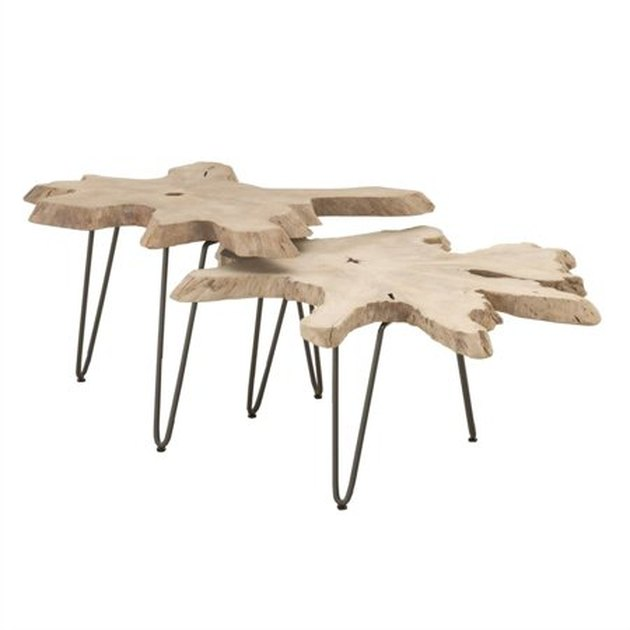 Set of two transitional style nesting coffee tables featuring Natural Teak Wood tops suitable for indoor and outdoor use.