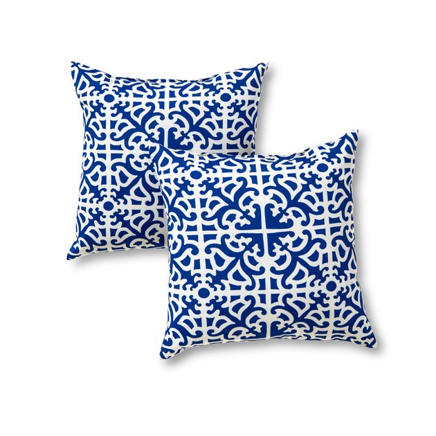 Add a stylish and contemporary accent to your outdoor furniture with this set of two Greendale Home Fashions 17-inch square accent pillows.  Each pillow is overstuffed for added comfort, strength and durability, with a soft polyester fill, made from 100% recycled, post-consumer plastic bottles. The exterior shell is made from a 100% polyester UV-resistant outdoor fabric. A variety of modern prints are available to enhance your outdoor decor.