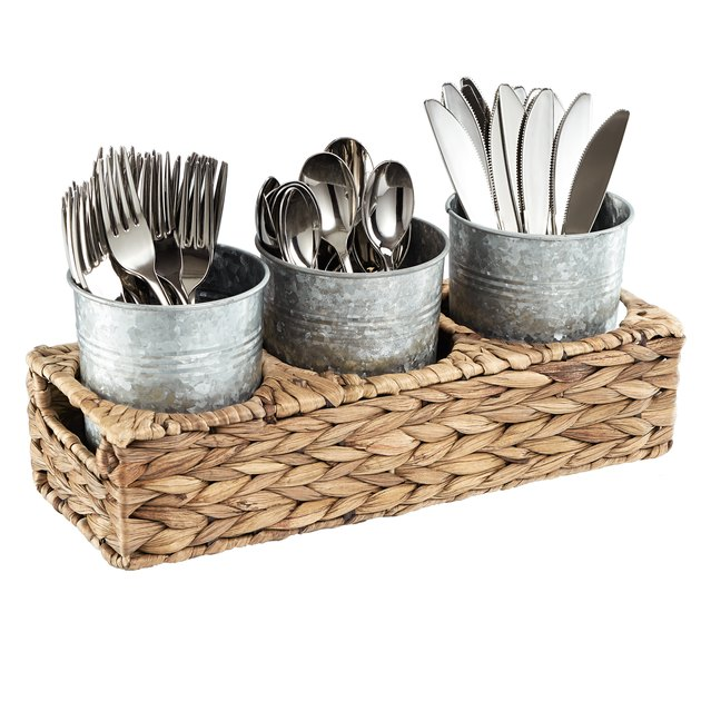 "Garden Terrace Flatware Caddy Seagrass Caddy With 3 Galvanized Jars For Flatware, Napkins, Condiments Etc. Cups 5"" X 4"""