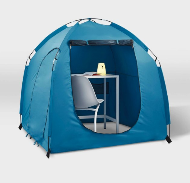 Create a sensory environment at home for your kiddo to call their own with the Sensory-Friendly Hideaway Tent from Pillowfort™. Durably constructed and spaciously designed, this kids sensory tent is sized just right to fit a desk and chair while still letting kids move around with ease. The built-in hook on the top of the ceiling can hold a lantern or light to brighten up the inside of the tent, while two convenient cord ports allow them to plug in or charge their electronic devices.