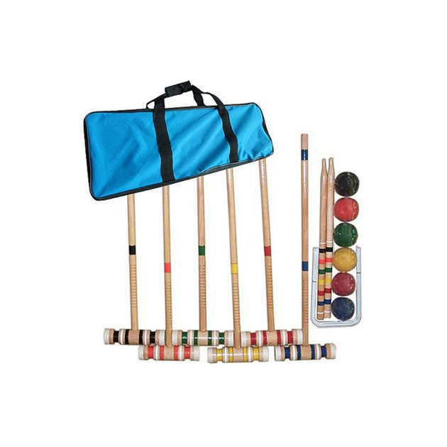 Get out and enjoy the beautiful weather with this Complete Croquet Set with Carrying Case by Trademark Games. This is a complete kit that has enough equipment for six people to play. This croquet game set comes with a carrying case that makes it easier for you to transport it from place to place.