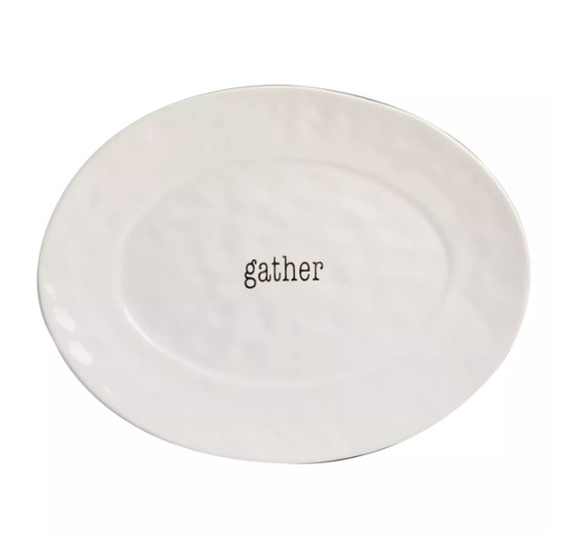 """Certified International It's Just Words Oval Ceramic Serving Platter 12"""" x 16"""" - White"""
