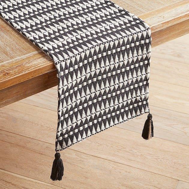 Geometric Black & White Woven Table Runner
