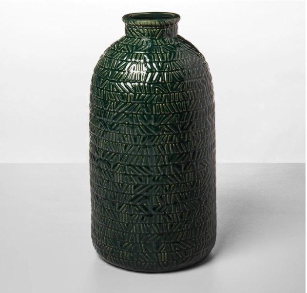 Opalhouse Stoneware Textured Vase Green