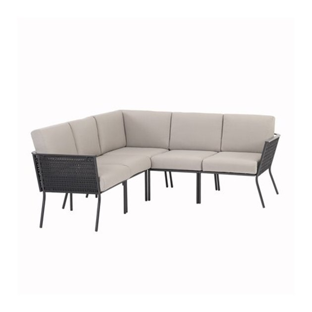 Create an inviting all-weather haven with the Mainstays Dagna 5-Piece Patio Sectional Set with Gray Cushions. This set includes a sectional with two middle chairs, one corner chair, and two end chairs that provides plenty of seating for family and friends.