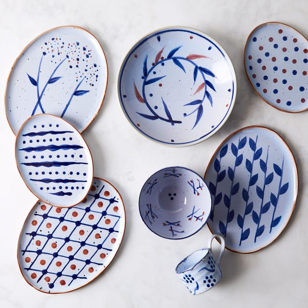 This just in: Named after the houseboat restaurant in Copenhagen Harbor, Vandvid is the latest everyday collection designed by Niels Refsgaard (yep, the famed Copenhagen-based ceramicist who's been working with Dansk for more than 50 years). In ultra-sturdy stoneware, this line's decked out with playful hand-painted patterns that are sure to get along with any tabletop. Not only do they have that retro Danish charm, they're also dishwasher and microwave safe. We love that the large and small platter can double as a dinner plate and salad plate, if you're into creating a totally unique mix-and-match place setting, too.