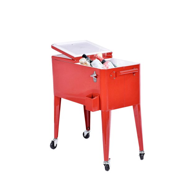 This Is Our Red 80 Quart Cooler Cart. This Red Cooler Cart Will Add Beauty To Your Patio, And It Also Very Functional. It Will Be A Perfect Tool To Cool Your Drinks, Such As Beer, Beverage And Juicy.