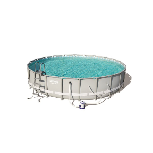 "The 24' x 52"" Power Steel Swimming Pool Set by Bestway is the prime choice for families because of its superior steel frame design engineered for maximum strength and durability. Plus minimal-tool assembly makes this the easy answer for your backyard pool needs."