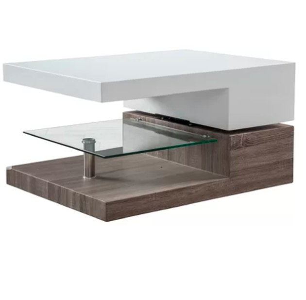 Modern design and contemporary style combine in this sculptural Delwood Coffee Table. Crafted of solid and manufactured wood, this marvelously mod design strikes an asymmetrical silhouette. A tempered glass half-shelf provides a perfect platform for displaying books or magazines, while the entire top half of the unit can be rotated to service other chairs in your seating ensemble.