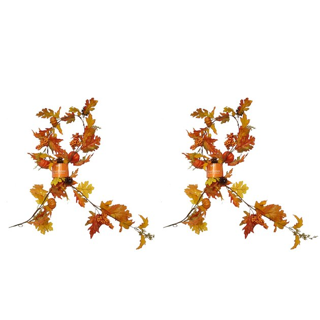 Way to Celebrate Harvest Garland, Set of 2 Orange Pumpkin Mix