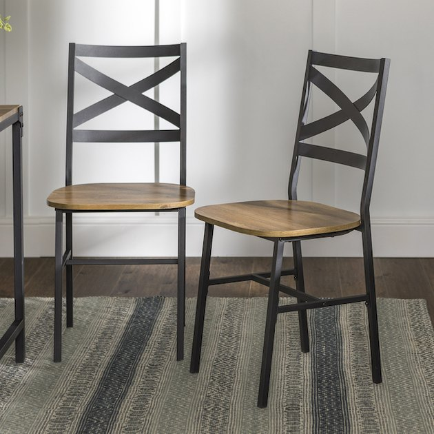 Manor Park Rustic Industrial Wood Dining Chair, Set of 2 - Barnwood