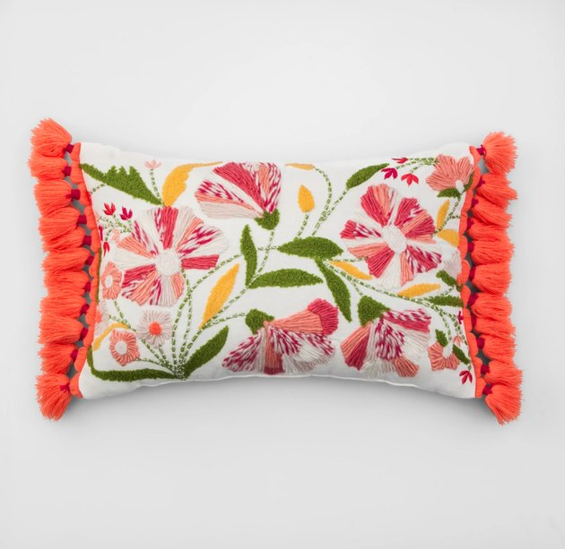 Bring nature-inspired flair to your living space with this Botanical Lumbar Throw Pillow from Opalhouse. Featuring a cotton exterior and a filled construction to help you stay comfortably supported, this embroidered lumbar throw pillow adds functional style to nearly any room in your home.