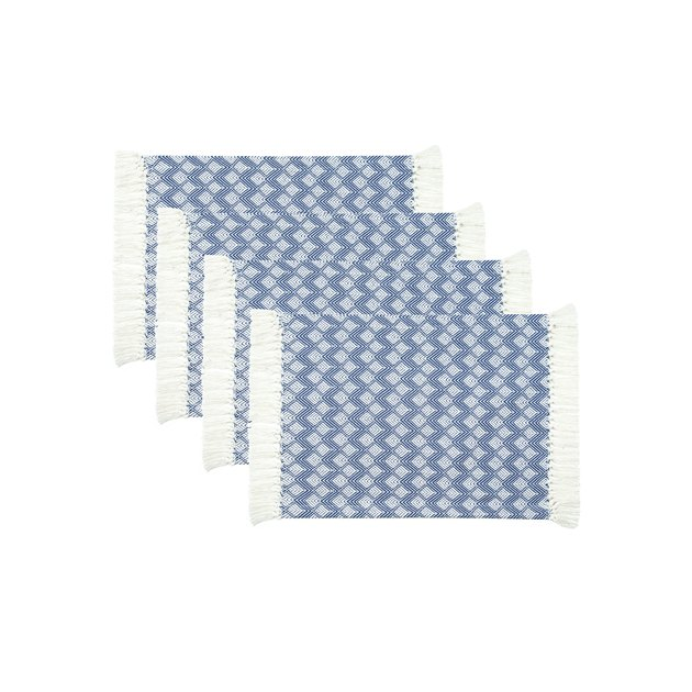 Our Sticky Toffee set of four durable placemats are made of cotton woven together in a diamond pattern with a subtle fringe on each end.