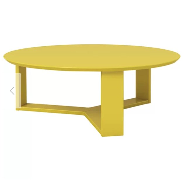"Anchor any seating ensemble in clean, contemporary style with this streamlined coffee table. Crafted of solid and manufactured wood in a ultracontemporary lacquered gloss finish, this table strikes a circular silhouette measuring 12.4"" H x 35.78"" W x 35.78"" D overall. Its geometric three-point base includes flat plank platforms which can be used for displaying framed photos, stacks of books, or issues of your favorite magazines, while the expansive tabletop is perfect for holding everything from remotes and coasters to drinks and appetizers."