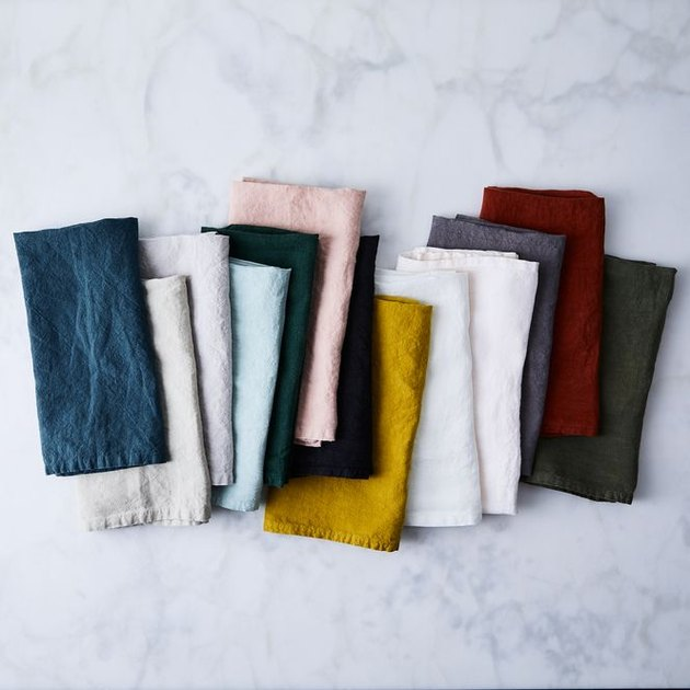 Woven in Portugal, these napkins are cut from Belgian linen that's then piece-dyed and stone washed—to create a casual and luxurious finish that's soft to the touch with an elegant, just-slightly-rumpled look (our favorite). Plus, they only get softer with use! Each set of 4 napkins is available in a wide range of colors to complement any table or room.
