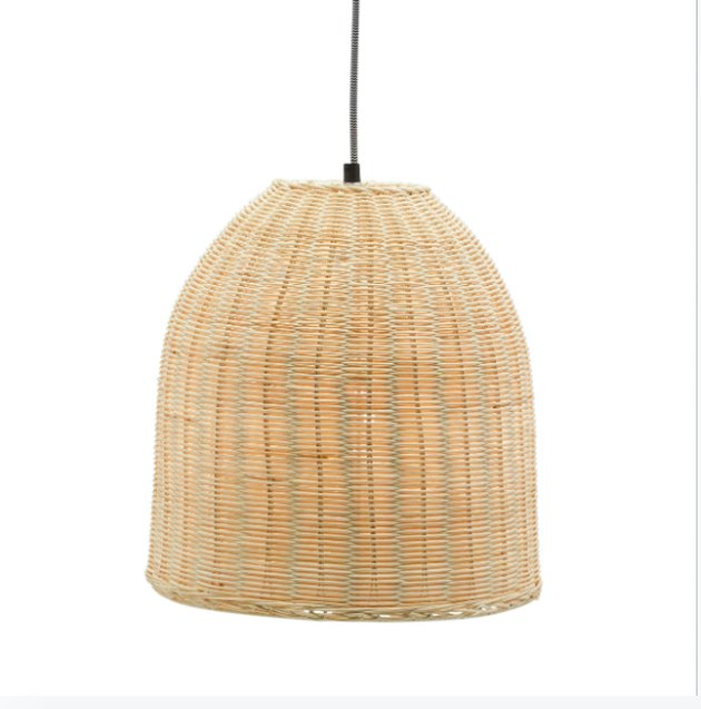 If your space craves something new, the Rattan Pendant Light by Drew Barrymore Flower Home will add a bit of texture above your dining table or kitchen prep area. This pendant light features a bell-shaped shade made of woven rattan. The natural hue will coordinate easily with existing decor. For hanging, it's equipped with a 4-foot black and white chevron cord. It also includes a 6-watt LED Edison bulb, which will cast a warm glow wherever it's displayed. Group two or more of these lights together for an impactful lighting arrangement. Pair it with other pieces by Drew Barrymore Flower Home for a cohesive look in every room.