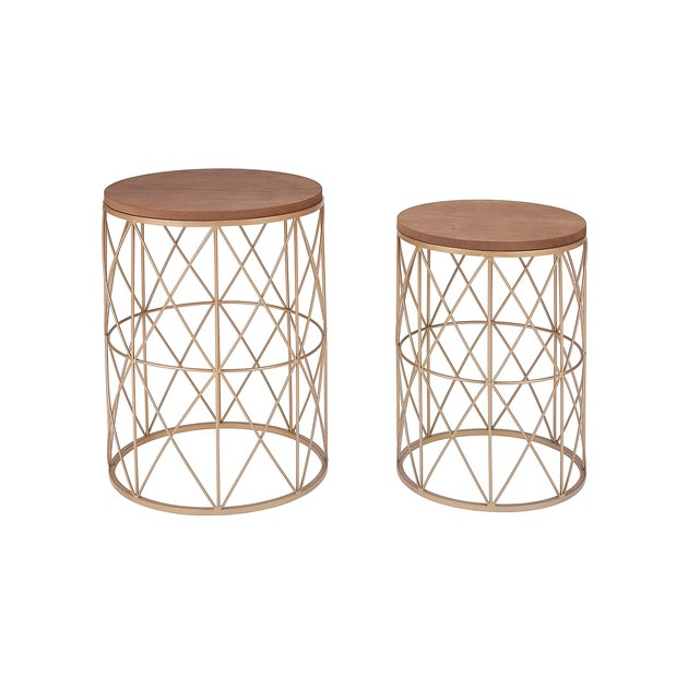 The Mainstays 2-Piece Nesting Wood and Metal Garden Stool Set has a rustic, boho look that will add instant style to your porch, sunroom, or patio. The set includes a large and a small stool that can be nested together for compact storage when not in use.