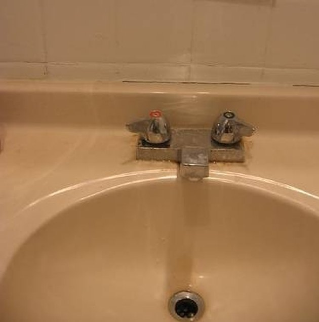 How to refinish a cultured marble sink hunker - How to refinish a bathroom vanity ...