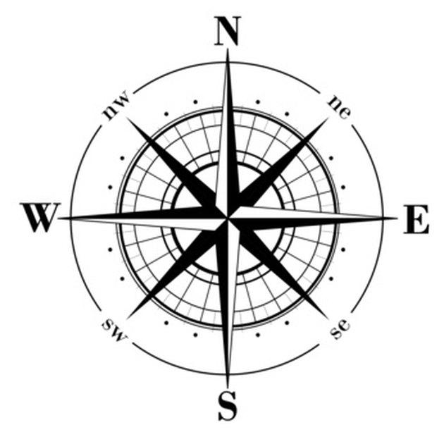 DIY Mariner's Compass Rose Medallion on Concrete Floor