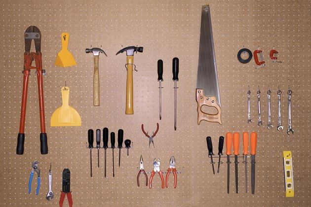 Tools hanging on pegboard