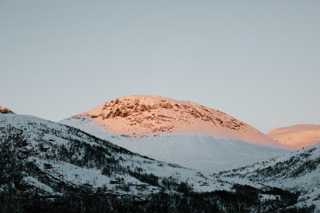 Snowcapped Norwegian mountains