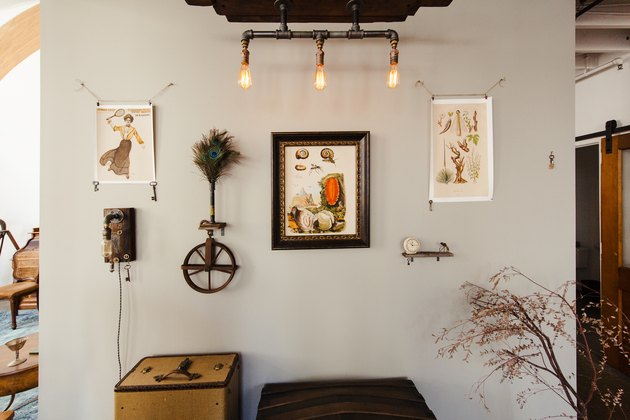 industrial farmhouse decor with vintage art and industrial lightbulbs