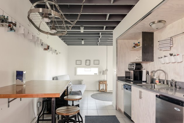 White-walled industrial kitchen