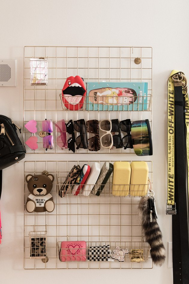 Over the Door Storage with Sunglasses and accessories rack in closet