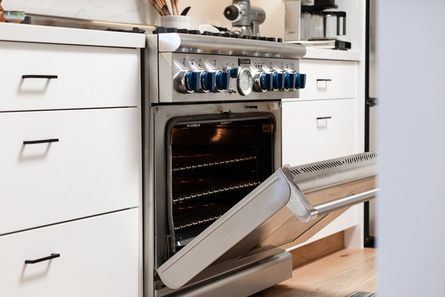 open stainless steel oven and range