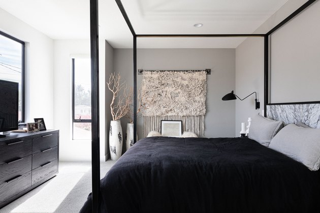 Black Room Ideas with Minimalist bedroom wtih black and white bedding and black furniture
