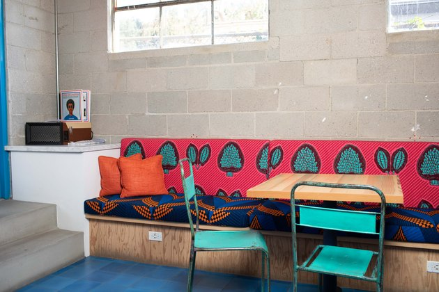vibrant banquette showcasing secondary colors
