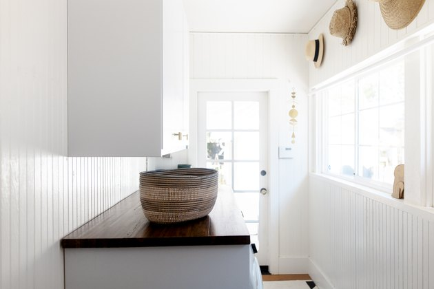 Woven basket on laundry room countertop