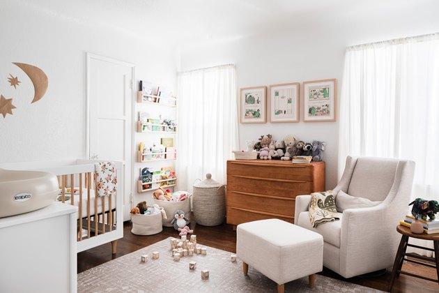 Toy storage options in gender neutral nursery