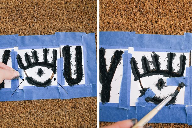 Painting doormat with stenciled letters