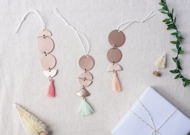 Rose gold and tassel tree ornaments