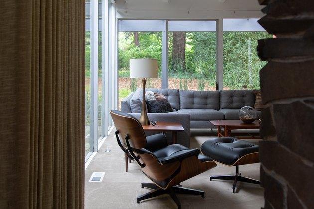 midcentury modern chair in living room