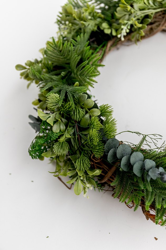 Faux evergreen Christmas wreath