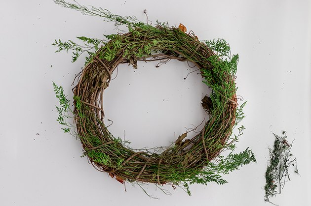 Faux Evergreen Christmas Wreath with grapevine wreath form