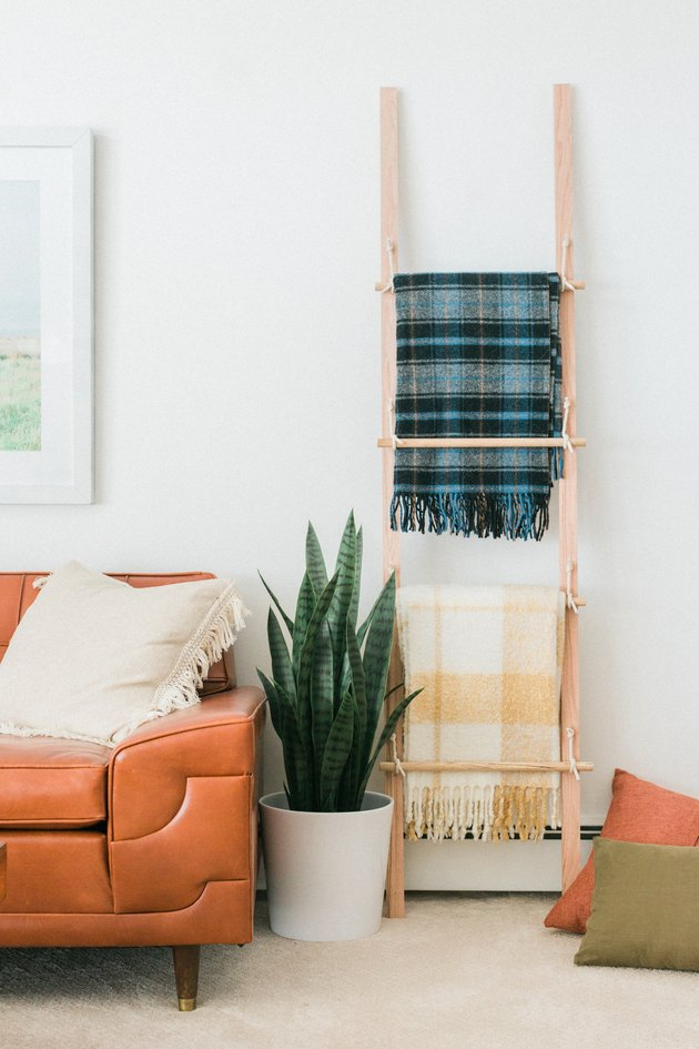 Wood blanket ladder with plaid blankets with potted plant and leather sofa